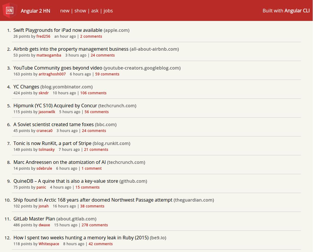 Создание hacker news с angular 2 cli, rxjs и webpack, часть 2