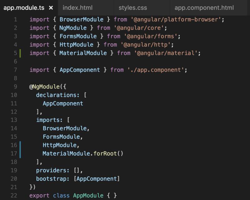 Создание проекта на Angular 2 с Angular Material