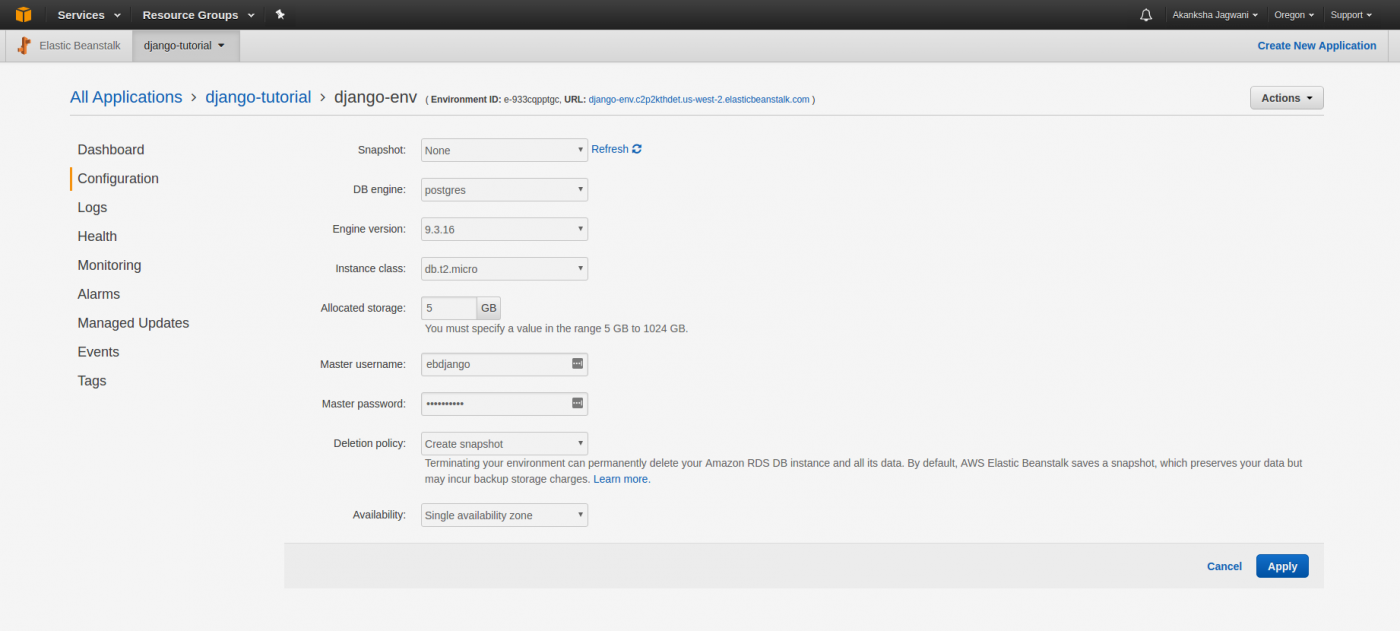 Развёртывание приложения Django в AWS Elastic Beanstalk